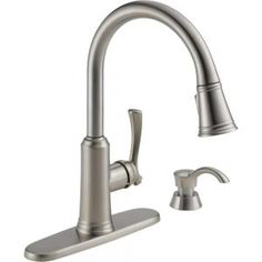 Delta Lakeview Single Handle Pull Down Sprayer Kitchen Faucet With Soap  Dispenser In Stainless At The Home Depot   Mobile