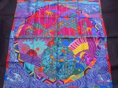 """Hermes scarf CARRE """"EX-Libris en KIMONOS"""" blue/pink/purple"""