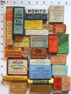 Lot of 26 VINTAGE PACKAGED DRUGSTORE MEDICINES and TINS