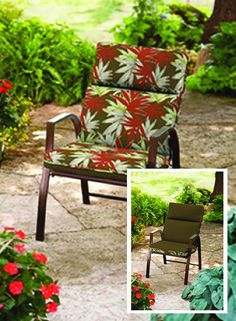 Bold, Spikey Leaf designed cushions play well against gardens + grassy grounds