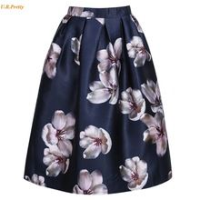 Plus Size Women Skirt New Fashion 2017 Spring Summer Vintage Style Floral Printed Ball Gown Pleat Midi Skirt Ladies Skirt //FREE Shipping Worldwide //