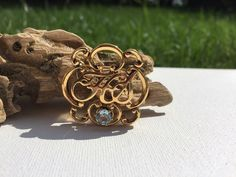 Avon Honor Society Gold Tone Brooch With Blue Stone.  | eBay