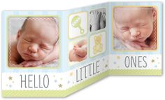 Hello Little Ones Boy 5x7 Tri-Fold Stationery Card by Yours Truly