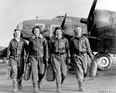 """Four women pilots leaving their plane, """"Pistol Packin' Mama,"""" at the four-engine school at Lockbourne AAF, Ohio, during WASP ferry training B-17 Flying Fortress. """"Pistol Packin Mama."""" was a B24-15th AF assigned to the 449th BG flying out of Italy during WW2."""