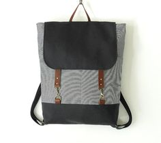 Unisex, NAVY. Navy stripe denim  backpack with navy canvas flap, laptop bag  with leather closure and front pocket, Design by BagyBags op Etsy, £60.12