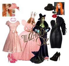 """""""Zelena and Glinda- The Witches"""" by batgirl-at-the-walking-dead3 ❤ liked on Polyvore featuring Once Upon a Time, Hervé Léger, Charles David, Jimmy Choo, Design Lab, storets, Sevan Biçakçi, Lime Crime, Forever 21 and Eugenia Kim"""