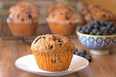Blueberry Bran Muffins (wheat bran) with blueberries or other fruits. A healthy bran muffin that isn't dry. It is truly packed with fruit while feeling substantial and satisfying.