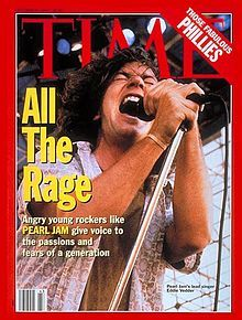 Eddie Vedder - Wikipedia / Eddie Vedder appeared on the cover of the October 25, 1993 issue of Time, as part of the feature article discussing the rising popularity of the grunge movement. Vedder had declined to participate, and was upset with the magazine about the cover.