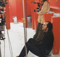 Never-before-published photo of Jack Nicholson relaxing between takes on the Red Bathroom set of The Shining.    (photo courtesy Prop Store)