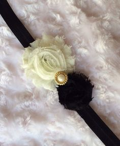 Fancy Black and Ivory Shabby Chic Flower Headband, Black and Cream Elastic Headband, Baby Headband, Newborn Headband, Infant Headband, Toddler Headband, GIrls Headband, Hair Accessory, Heaband by BandsForBabes, $6.75