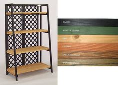 """Folding Tapered Display  59"""" H x 33"""" W x 18"""" D. Includes 4 Shelves. Cinamon/Oak pictured. Black/Oak in stock. Available colors: Hunter Green (frame only), Black (frame only), Cherry, Early American, Weatherwood. Please allow 4-6 weeks for delivery. Note: Shelf Units Shipped Knocked down by UPS. Assembly Required.  http://www.gershelbros.com/product1726.html  http://www.gershelbros.com/page68-ss2.html"""