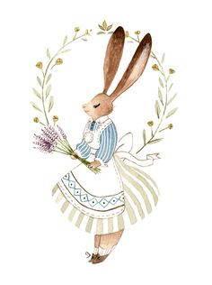 Spring Bunny Art Print by Vanessa Gillings - X-Small