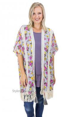 744328cdb9dbfb Avery Ladies Floral Printed Kimono Crochet Trim & Fringe Gray Bohemian Girls,  Boho Girl,