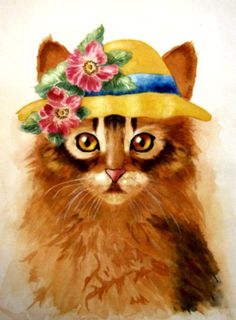 Cat With A Hat Watercolor by Junell Toney