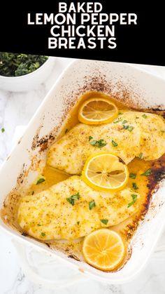 Baked Lemon Pepper Chicken, Baked Chicken Recipes, Baked Chicken Breast, Easy Baked Chicken, Chicken Thigh Recipes, Garlic Chicken, Chicken Breasts, Chicken Thighs, Lemon Recipes Dinner