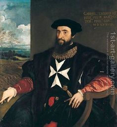 (after) Tiziano Vecellio (Titian):Portrait Of Gabriele Tadino Three-Quarter Length Seated, Wearing The Robes Of The Order Of The Knights Of Malta, A Landscape With Cannons Beyond Malta, Knights Hospitaller, Knights Templar, Kingdom Of Jerusalem, Renaissance Men, Historical Art, Oil Painting Reproductions, Famous Artists, Art Gallery