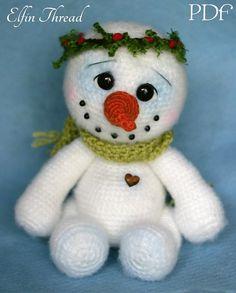 Elfin Thread- Chubby snowman Amigurumi PDF Pattern (Crochet Snowman pattern)
