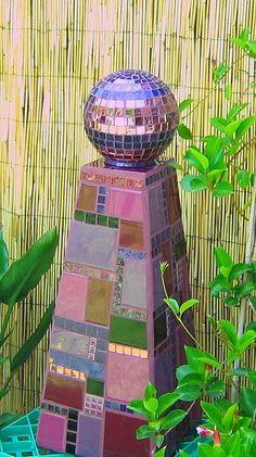 Purple Mosaic Pedestal and Garden Ball made by Karyne, Viva Mosaic Diva on…: