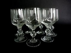 Vintage Wine Glasses Set of 7 Classic Wine by GuestFromThePast