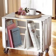 Ev Home: Kasadan dekorasyon fikirleri What's Decoration? Decoration could be the art of decorating the inside and exterior of the … Wood Crate Shelves, Diy Wooden Crate, Wood Crates, Wooden Boxes, Wine Crate Table, Diy Esstisch, Wooden Box Centerpiece, Deco Marine, Diy Shops