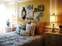 Bedroom Picture Hanging Template Design, Pictures, Remodel, Decor and Ideas  --- Like this idea for over the bed wall decorations for Ada's room