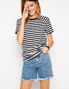 ASOS – Gestreiftes T-Shirt mit Raglanärmeln