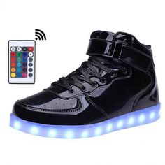 more photos 0ceb9 f11b0 High Top Men Led Shoes with Remote Comtrol Luminous Light Up Shoes For  adults 7 Colors Flashing Casual Light Up USB Charge Shoes