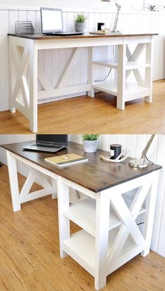DIY Farmhouse Office Desk for the Home Office #office #desk #farmhouse