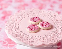 Valentine's Day Iced Cookies American Girl Doll Food. $6.50, via Etsy.