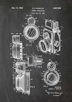 Kamera Patent Zeichung, Kreide im Vintage Stil, Vintage patent drawing, chalk