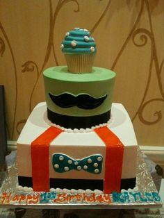 1st bday cake. Theme: Little Man mustache bash.
