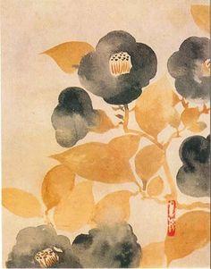 Camellias. Rinpa scroll.