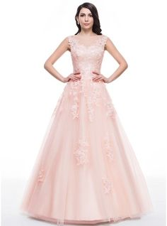 Ball-Gown Scoop Neck Floor-Length Beading Appliques Lace Sequins Zipper Up Cap Straps Sleeveless No Pearl Pink Spring Summer Fall General Plus Tulle Height:5.7ft Bust:34in Waist:23in Hips:35in US 2 / UK 6 / EU 32 Prom Dress