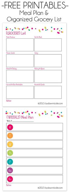Printables: Meal Plan & Grocery List Free Meal Plan & Grocery List Printable Organized by Store sections for easier, faster trips to the Grocery!Free Meal Plan & Grocery List Printable Organized by Store sections for easier, faster trips to the Grocery! Meal Plan Grocery List, Grocery List Printable, Grocery Lists, Grocery List Organizer, Weekly Menu Printable, Shopping Lists, Printable Labels, Printable Planner, Grocery Store
