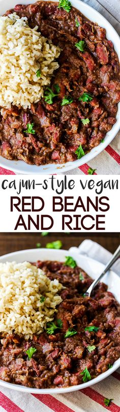 Vegan Red Beans and Rice These Cajun-Style Vegan Red Beans and Rice are a healthy version of the traditional Louisiana dish, but are still just as satisfying and flavorful!These Cajun-Style Vegan Red Beans and Rice are a healthy version of the traditional Veggie Recipes, Whole Food Recipes, Vegetarian Recipes, Dinner Recipes, Healthy Recipes, Vegan Bean Recipes, Fast Recipes, Seitan, Tempeh