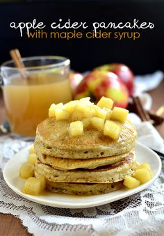 Apple Cider Pancakes with Maple Cider Syrup / iowa girl eats