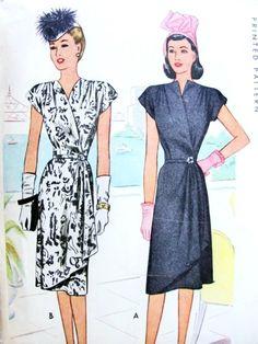 1940s Stunning Wrap Dress Pattern McCall 6440 Film Noir Cocktail Evening Wrap Around Dress Surplice Neckline Flirty Cascade Side Drape Bust 34 Vintage Sewing Pattern