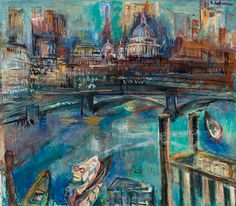 Suzanne Perlman, The Thames and Saint Pauls (2001) Exhibition of this 91 year old artist who was a pupil of Kokoshka, at The Gallery, 28 Cork Street, London W1S 3NG 30th April - 17th May 2014