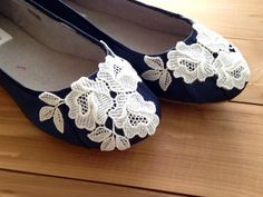 SALE Size 9.5 Lace wedding shoes dark navy by beccaandlouise