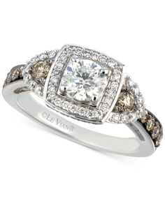 Le Vian Bridal Diamond Square Halo Engagement Ring (1-3/8 ct. t.w.) in 14k White Gold