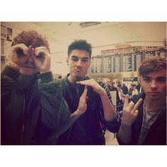 The Wanted-Jay, Siva, and Nathan; having fun in what looks like an airport