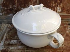 Antique Ironstone Chamber Pot with Lid by LaDolfina on Etsy, $65.00