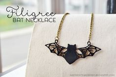 MINTED STRAWBERRY: Filigree Bat Necklace, make your own with shrink plastic and the #freetemplate! #DIYjewelry #DIYaccessory #halloween