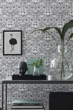 Odessa Garden Damask wallpaper in white. A unique take on the classic damask, this contemporary wallpaper that features ornate flowers is . Classic Wallpaper, Damask Wallpaper, Wallpaper Samples, Print Wallpaper, Colorful Wallpaper, Black And White Wallpaper, Black White, Interior Design Software, Contemporary Wallpaper