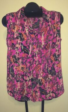 Faded Glory Size 2X Shirt - Womans Sleeveless Floral Button Front Top m1 #FadedGlory #ButtonDownShirt #Casual