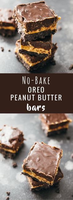 These no-bake Oreo peanut butter squares have three thick layers: Oreo bottom crust, thick and creamy peanut butter middle layer, and a rich chocolate frosting top layer. The peanut butter is the star of this show, for sure; there's an entire pound of peanut butter used! Both the chocolate and peanut butter layers are thick and rich, and the Oreo crust is crumbly but holds together. These bars are the perfect dessert recipe! - http://savorytooth.com