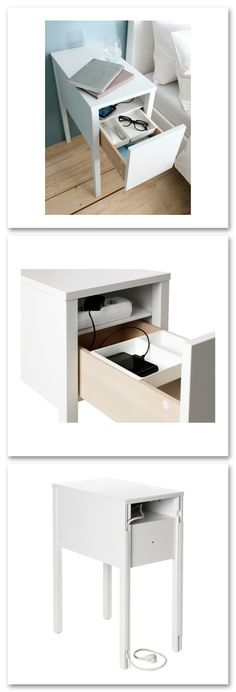 IKEA Nordli nightstand-On the hidden shelf is room for an outlet strip for your chargers. Ikea Nordli, Hidden Shelf, Furniture Shopping, Condo Living, House Mouse, Nightstands, Bedroom Storage, Wardrobe Ideas, First Home