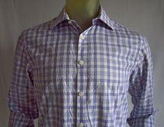 EGARA Mens Long Sleeve Shirt Purple / White Check 100% Cotton Size Medium #Egara #ButtonFront