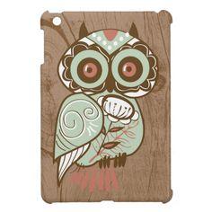Wood Vintage Owl iPad Mini Covers