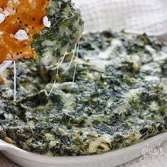 Hot  Spinach dip from Skinny Taste. This is really good with homemade baked tortilla chips. Low fat and yummy